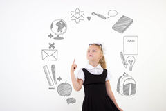 Back to school concept, schoolgirl get an idea Royalty Free Stock Photo