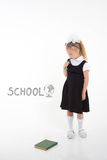 Back to school concept. Schoolgirl hate reading books Royalty Free Stock Photo