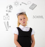 Back to school concept, schoolgirl thinking Stock Images
