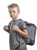 Back to school concept. Back to shool concept, young boy with back bag isolated on white Royalty Free Stock Photos