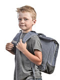 Back to school concept. Back to shool concept, young boy with back bag isolated on white Stock Images