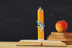 Back to school concept. stack of books and pencils over wooden desk in front of blackboard. stock photos