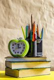 Back to school concept. Stack of books with school supplies royalty free stock photos