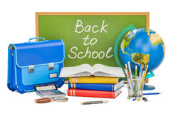 Back to school concept with stationery, 3D rendering. On white background Royalty Free Stock Photo
