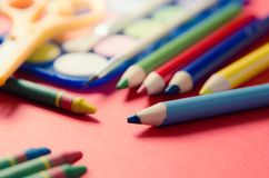 Back to school concept with stationery and school supplies Royalty Free Stock Images