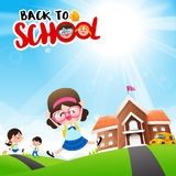Back to School concept Student kids cartoon jumping and running. Back to School concept Student kids jumping and running with happiness and cheerful with Nature stock illustration