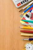 Back to school concept and supplies on wood Stock Images