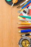 Back to school concept and supplies on wood Stock Photos