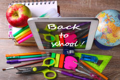 Back to school concept with tablet pc Stock Images