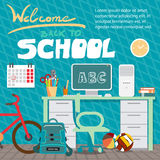 Back to school concept. Teenagers workspace with desk, computer. Bycicle, books, backpack etc. Child room interior. Flat cartoon style  background for poster Royalty Free Stock Photography