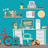 Back to school concept. Teenagers workspace with desk, computer. Bycicle, books, backpack etc. Child room interior. Vector flat cartoon illustration Royalty Free Stock Photo