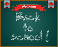 Back to school concept text on chalkboard Stock Photo