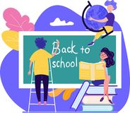 Back to School concept with three young students writing the text stock illustration