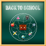Back to school concept with tools on green blackboard Stock Image