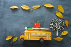 Back to school concept. Top view photo of cardboard school bus, apple and pencil next to tree with autumn dry leaves over. Classroom blackboard background royalty free stock photography