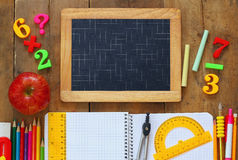 Back to school concept. Top view of school supplies Stock Photo