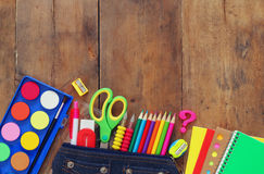 Back to school concept. Top view of school supplies Royalty Free Stock Images