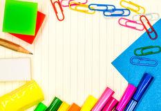 Back to school concept. various stationary on white Royalty Free Stock Images
