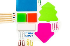 Back to school concept. various stationary on white Stock Photos