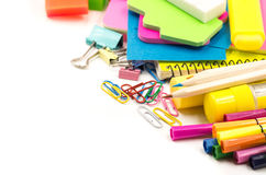 Back to school concept. various stationary on white Royalty Free Stock Photos