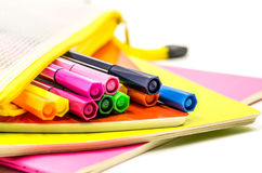 Back to school concept. various stationary on white Stock Photography