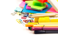 Back to school concept. various stationary on white Royalty Free Stock Photo