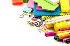 Back to school concept. various stationary on white Royalty Free Stock Image