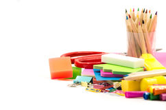 Back to school concept. various stationary on white Stock Photo