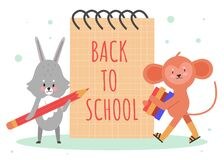 Free Back To School Concept Vector Illustration, Cartoon Cute Fluffy Animal Student Schoolkid Characters With Pencil, Stack Stock Images - 194029784