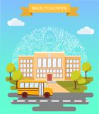Back to school concept vector poster. School bus with building on background. City primary and high school. Education. Banner in flat cartoon style Royalty Free Stock Image