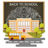 Back to school concept vector poster. School bus with building and blackboard on background. City primary and high. School. Education banner in flat cartoon Stock Photo