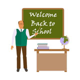 Back to school concept. On white background. Flat style illustration of male Teacher geography in audience class concept. Educator  shows by pointer the on the Stock Images