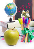 Back To School Concept With Stationary And Apple Isolated Royalty Free Stock Photo