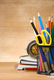 Back to school concept on wood Royalty Free Stock Photo