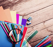 Back to school concept on wooden background Royalty Free Stock Images