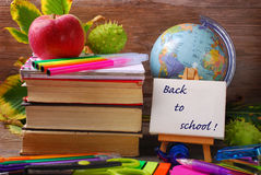 Back to school concept on wooden background Royalty Free Stock Image