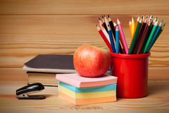 Back to school concept on wooden table. Stock Image