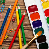 Back to school concept on wooden table. Set of objects Royalty Free Stock Images