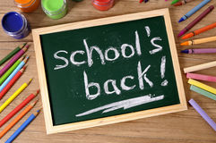 Back to school concept, words written on blackboard Stock Images