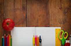 Back to school concept. Writing supplies on the table Royalty Free Stock Images