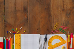 Back to school concept. Writing supplies on the table Stock Photo