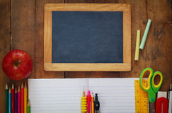 Back to school concept. Writing supplies on the table Royalty Free Stock Photo