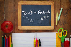 Back to school concept. Writing supplies on the table Royalty Free Stock Photography