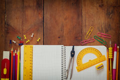 Back to school concept. Writing supplies on the table Stock Images