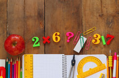 Back to school concept. Writing supplies on the table Stock Image