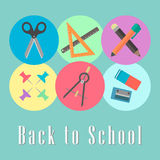 Back to school conception, chancellery set. Vector illustration Royalty Free Stock Images