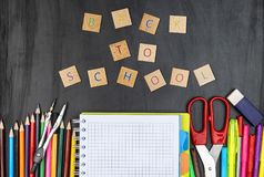 Back to school conception. School supplies. royalty free stock photo