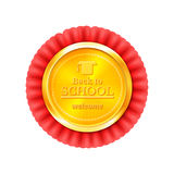 Back to school congratulations vector illustration. Back to school a gold medal with red ribbon, congratulations with the beginning of the school year, vector Stock Photography