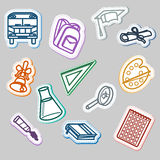 Back to school contour sticker set Stock Photography