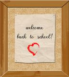Back to school. Cork table with back to school theme Royalty Free Stock Photos